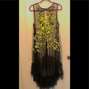 Free People Black Mesh Sequin High-Low Maxi  Dress